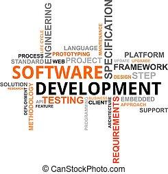 słowo, chmura, -, software, rozwój