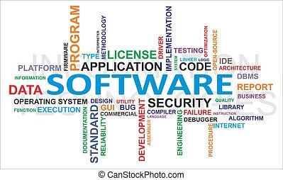 słowo, chmura, -, software