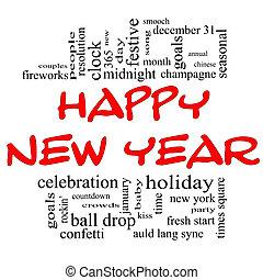 słowo, czarny czerwony, rok, nowy, chmura, szczęśliwy