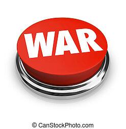 słowo, guzik, -, wojna, okrągły, czerwony
