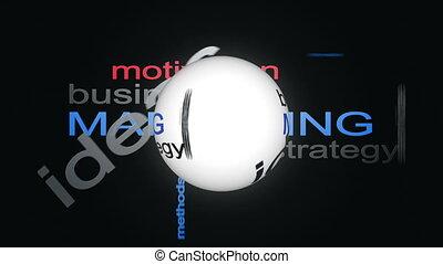 słowo, handlowy, handel, strategia, kula, ożywienie, tekst, ...