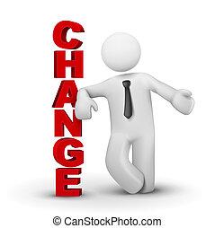 słowo, handlowy, przedstawiając, 3d, zmiana, człowiek