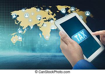 słowo, handlowy, tabliczka, ludzie, ekran, opodatkować, używając
