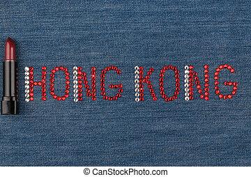 słowo, hongkong, robiony, od, namiastki kryształu, inkrustował, na, denim., świat, fashion.