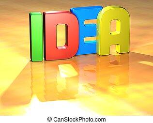 słowo, idea, na, żółte tło