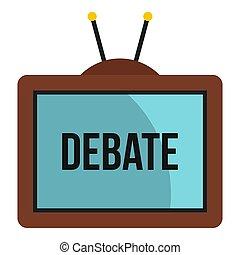 słowo, ikona, ekran, debata, telewizja, retro