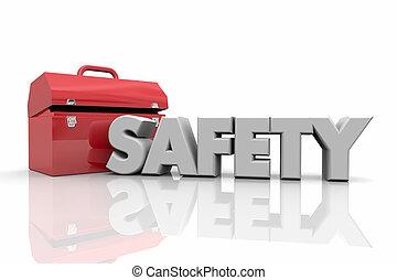 słowo, ilustracja, bezpieczeństwo, skrzynka na narzędzia, narzędzia, zasoby, 3d