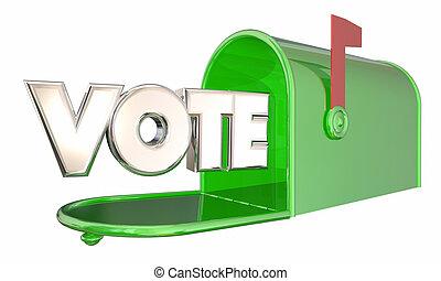 słowo, ilustracja, skrzynka pocztowa, wybór, głos, balotowanie, absentee, 3d