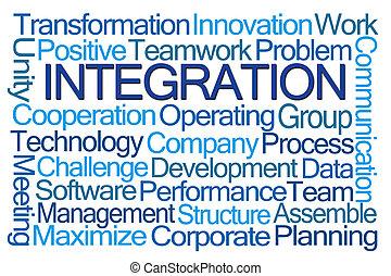 słowo, integracja, chmura