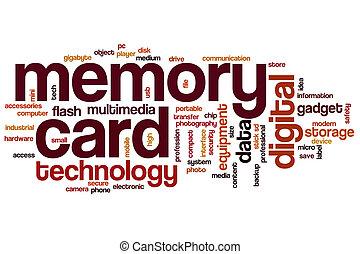 słowo, karta, chmura, pamięć