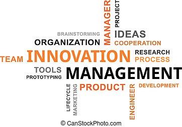 słowo, kierownictwo, -, chmura, innowacja