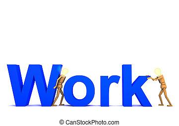 słowo, lalka, drewniany, praca, ilustracja, 3d