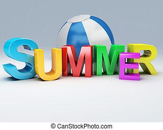 słowo, lato, z, barwny, litera, 3d, ilustracja