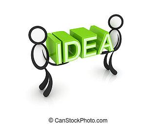 słowo, ludzie, idea, mały, hands., 3d