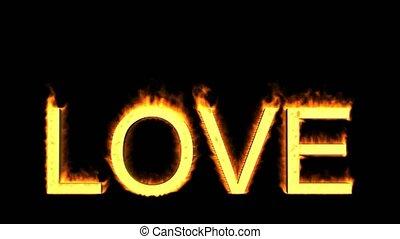 słowo, miłość, płomienie