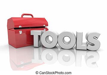 słowo, mocować, praca, ilustracja, skrzynka na narzędzia, narzędzia, zasoby, 3d