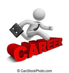słowo, na, skokowy, biznesmen, 'career', 3d