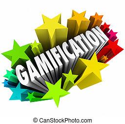słowo, nauka, fajerwerki, gra, gamification, gwiazdy, online, pasjonujący