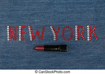słowo, nowy york, robiony, od, namiastki kryształu, inkrustował, na, denim., świat, fashion.
