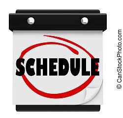 słowo, pamiętać, harmonogram, ściana, spotkania, kalendarz