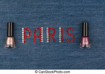 słowo, paryż, robiony, od, namiastki kryształu, inkrustował, na, denim., świat, fashion.