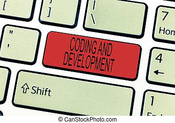 słowo, pisanie, tekst, kodowanie, i, development., handlowe pojęcie, dla, programowanie, gmach, prosty, montaż, programy