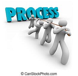 słowo, proces, system, ciągnący, drużyna, organizacja, ...