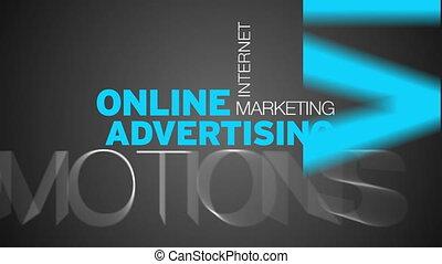 słowo, reklama, chmura, online