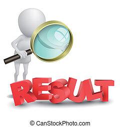 """słowo, """"result"""", osoba, oglądając, szkło, powiększający, 3d"""