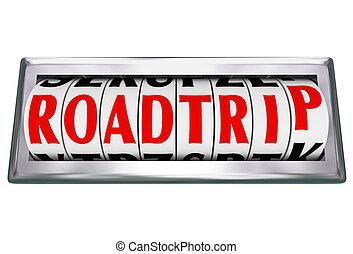 słowo, roadtrip, odometr, mile, odliczający, podróż, droga