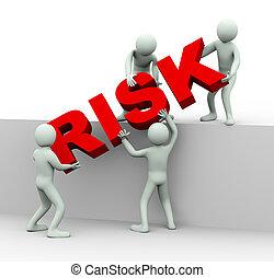 słowo, ryzyko, pracujące ludzie, razem, miejsce, 3d