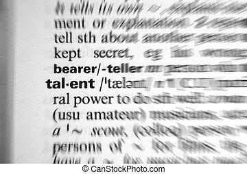 słowo, słownik, -, prosperować, skutek, talent