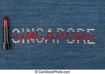 słowo, singapore, robiony, od, namiastki kryształu, inkrustował, na, denim., świat, fashion.