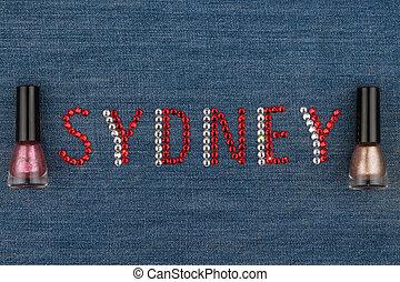słowo, sydney, robiony, od, namiastki kryształu, inkrustował, na, denim., świat, fashion.