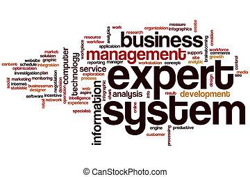 słowo, system, chmura, ekspert