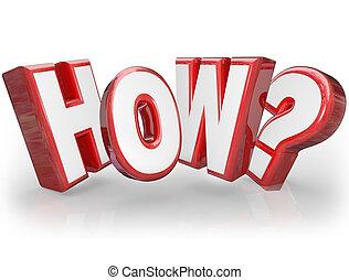 słowo, szukając, znak zapytania, jak, pytając, odpowiedź, 3d