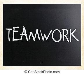 """słowo, tablica, kreda, """"teamwork"""", biały, handwritten"""