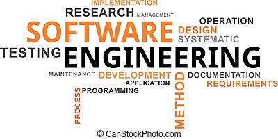 słowo, technika, -, chmura, software