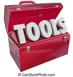 słowo, zręczności, czerwony, skrzynka na narzędzia,...