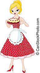 służąc, ciastko, kobieta, młody