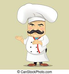 służąc, ilustrator, jadło, litera, odizolowany, mistrz kucharski, realistyczny, wektor, projektować, kok, rysunek