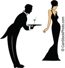 służąc, pije, kelner
