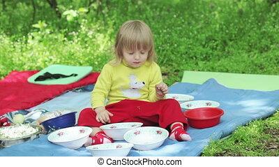 służąc, piknik, natura