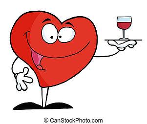 służąc, serce, wino, czerwony, szkło