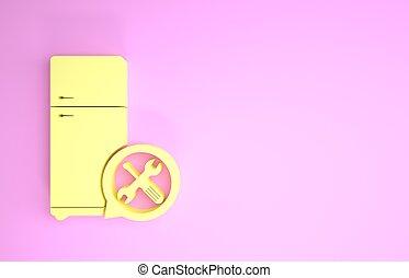 służba, ikona, regulując, minimalizm, szarpnąć, 3d, różowy, chłodnia, render, concept., fixing., utrzymanie, naprawa, odizolowany, ilustracja, tło., zmontowanie, śrubokręt, żółty