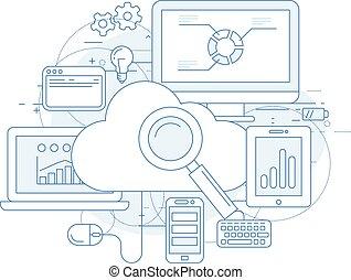 służba, obliczanie, abstrakcyjny zamiar, internet, chmura
