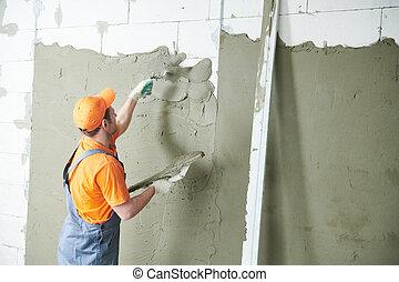 służba, rozpościerający się, tynk, wall., tynkarz, renowacja