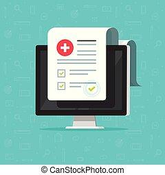 służba, wyniki, spis, komputer, elektronowy, ubezpieczenie, szach znaczą, kliniczny, wektor, cyfrowy, medycyna, dokument, checkbox, kształt, checklist, online, dane, zatwierdzony, recepta, medyczne rejestrowanie, albo