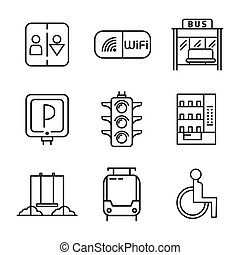służby, komplet, publiczność, ikona