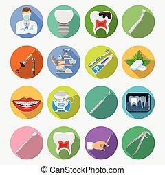 służby, stomatologiczny, komplet, ikony